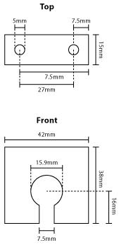 Technical illustration of an AARC antenna L bracket to suit N socket base.