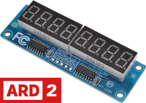 Photo of the top of an Arduino-compatible 8-Digit display module.