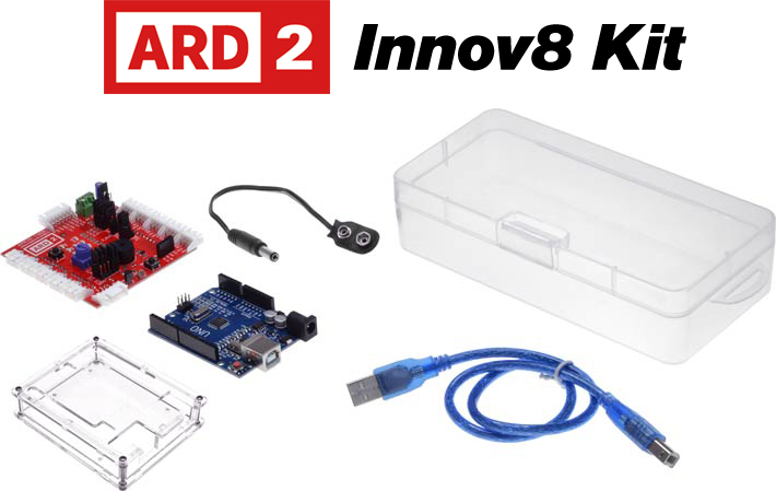 Photo of an ARD2 Innov8 Kit that is Arduino compatible.