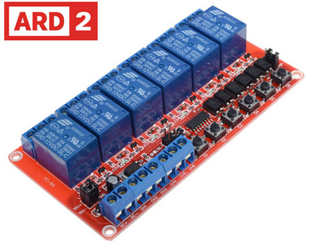 Photo of a 6 channel self-latching module 12V that is Arduino compatible.