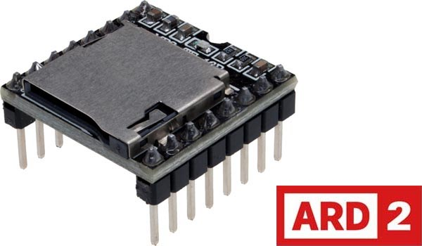 Photo of an audio voice module mini MP3 player TF / micro SD card U disk that is Arduino-compatible.