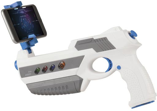 Photo of a toy gun that uses augmented reality (AR) for gameplay via a mobile phone.