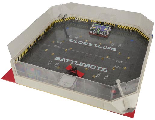 Photo of a two battlebot robots in an arena.