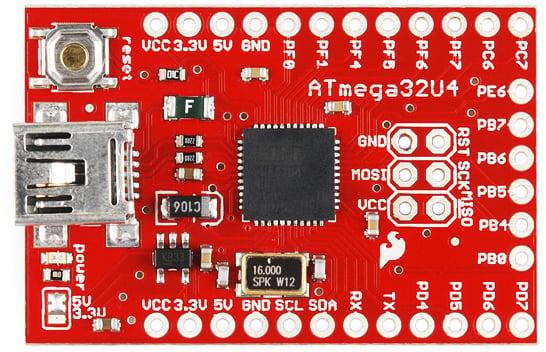 Photo of a SparkFun ATMEGA32U4 breakout board, taken from the top.