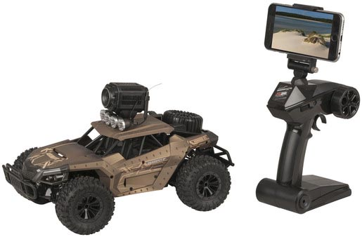 Photo of a one sixteenth scale remote control car that features a 720p camera and virtual reality (VR) goggles.