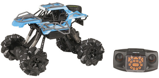 Photo of a remote controlled 1:12 blue rock crawler with sideways drift.