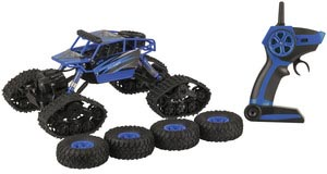 Photo of a remote controlled one eighteenth scale two-in-one rock and dirt crawler toy car.