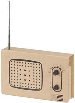 Photo of a cardboard radio construction kit.