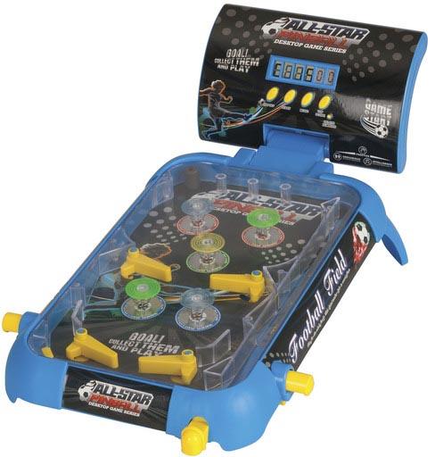 Photo of a desktop pinball game.