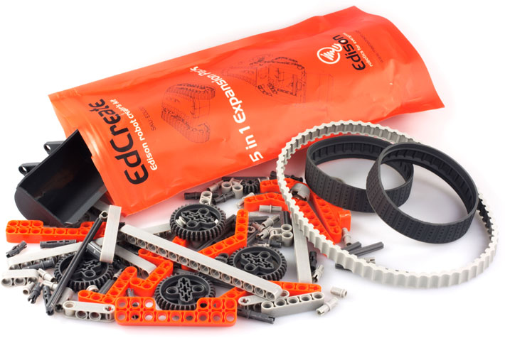 Photo of an Edison Robot EdCreate Constructors Kit with bag open to show contents.