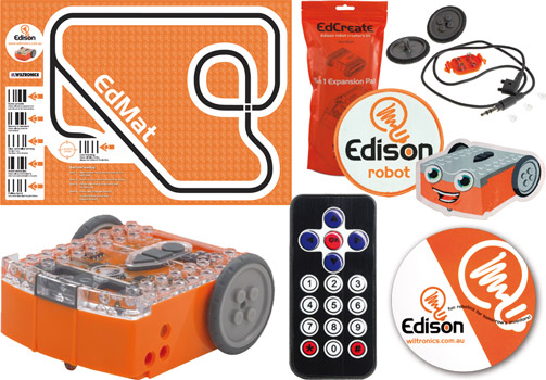 Photo showing everything included in an Edison Robot version 2.0 Stem Kit 5.