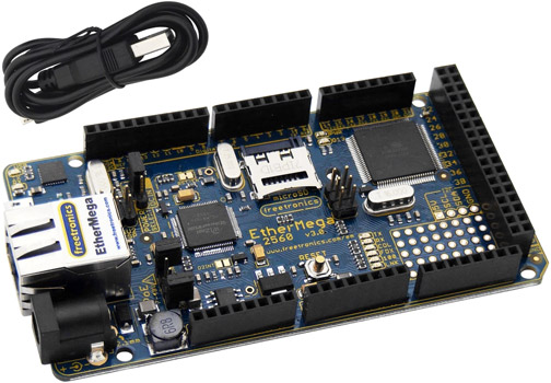 Photo of a Freetronics EtherMega that is Arduino-compatible.