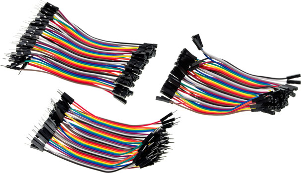 Photo of a 120 pack of 100mm rainbow jumper connector leads.