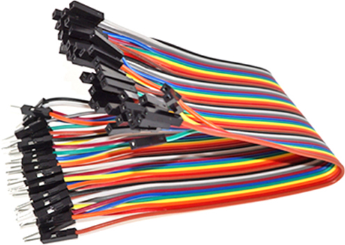 Photo of a 40 pack of rainbow male to female jumper connector leads that are 200mm long.