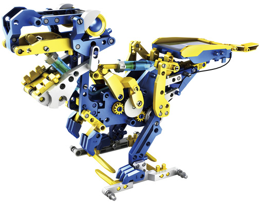 Photo of a 12-in-1 solar hydraulic robot kit, built as a dinosaur.