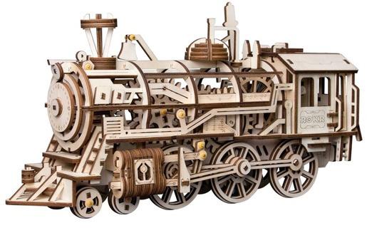 Photo of a locomotive wood construction kit.