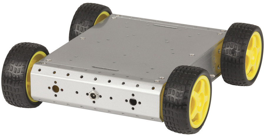 Photo of a four wheel drive metal chassis car kit.