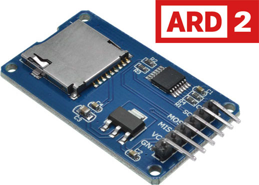 Photo of an Arduino micro SD card reader module.
