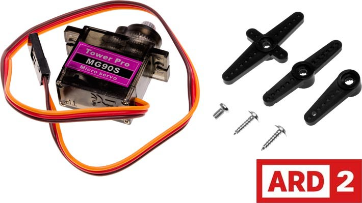 Photo of an 180Deg SG90S micro servo with metal gears, 2.5Kg/cm.