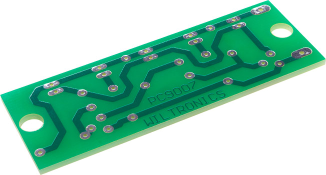Photo of the top of a PCB for tail light flasher.