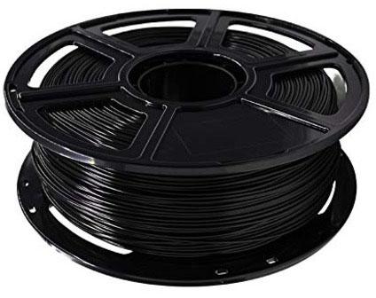 Photo of a black 1.75mm Flashforce PLA filament that weighs 600 grams.