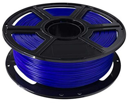 Photo of a blue 1.75mm Flashforge PLA filament roll that weighs 600 grams.