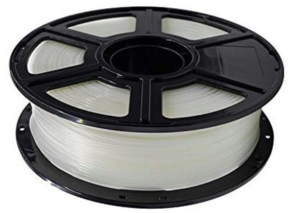 Photo of a clear 1.75mm Flashforge PLA filament that weighs 600 grams.