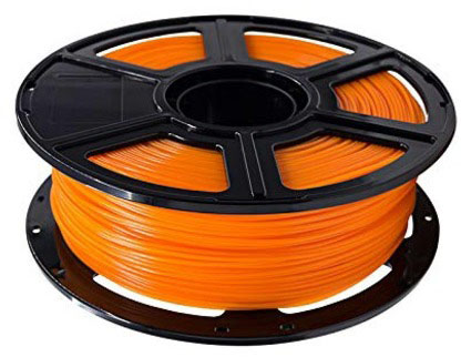 Photo of an orange 1.75mm Flashforge PLA filament roll that weighs 600 grams.