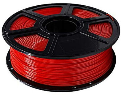 Photo of a red 1.75mm Flashforge PLA filament roll that weighs 600 grams.