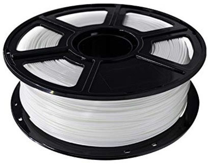 Photo of a white 1.75mm Flashforge PLA filament roll that weighs 600 grams.