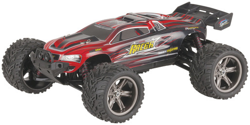 Photo of a 1:12 scale 2.4GHz red racing truggy.