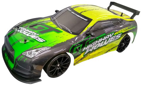 Photo of a 1:10 scale R/C drift racing car.