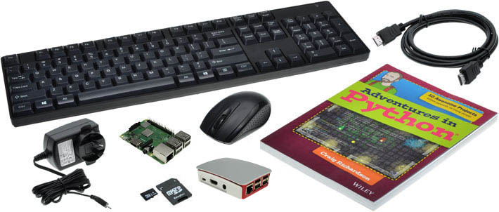 Photo of a Raspberry Pi in a Box Starter Kit supplied with an Adventures in Python book.