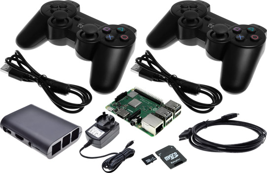 Photo of a Raspberry Pi 3 B+ retro games bundle with two PS3-style controllers.