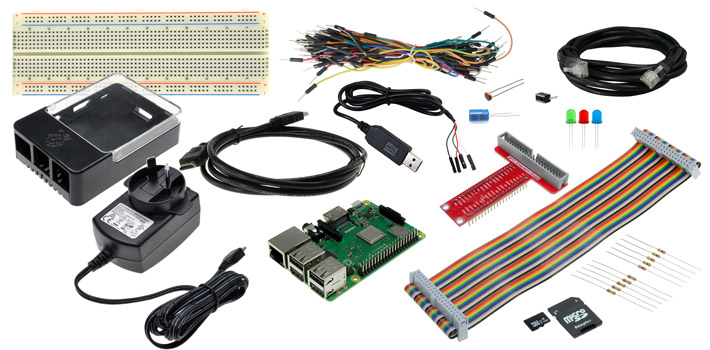 Photo of a GPIO Starter Pack with Raspberry Pi 3 Model B+.