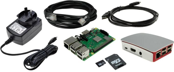 Photo of a Raspberry Pi 3 Model B+ Standard Starter Pack.
