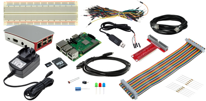 Photo of a GPIO Starter Pack with a Raspberry Pi 3 Model B+.
