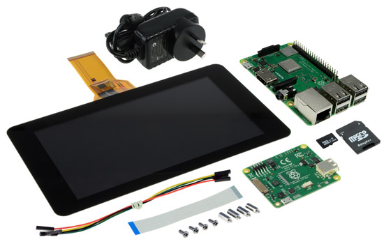 Photo of a Raspberry Pi 3 Model B+ Tablet Pack.
