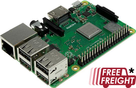 Photo of a Raspberry Pi 3 model B+.