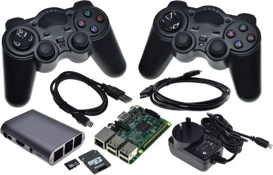 Raspberry Pi 3 Retro Games Bundle with 2 PS2-Style Bluetooth Gamepads