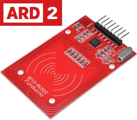 Photo of an Arduino compatible RFID reader module.