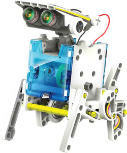 Photo of a 14-in-1 robotics solar kit, assembled as a dog.