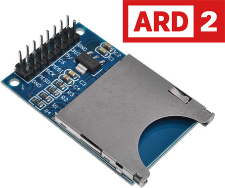 Photo of an ARD2 SD card reader module that is Arduino compatible.