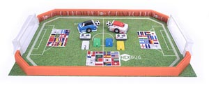 Photo of a two pack soccer robot area.