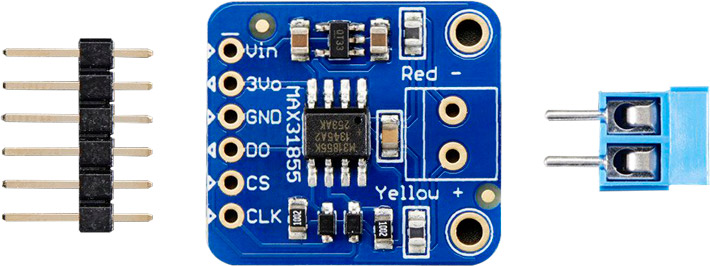 Photo of an Adafruit thermocouple MAX31855 breakout board.