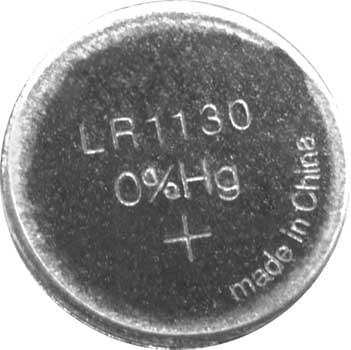 A photo of a 1.5 volt LR1130/189/LR54 alkaline button cell battery.