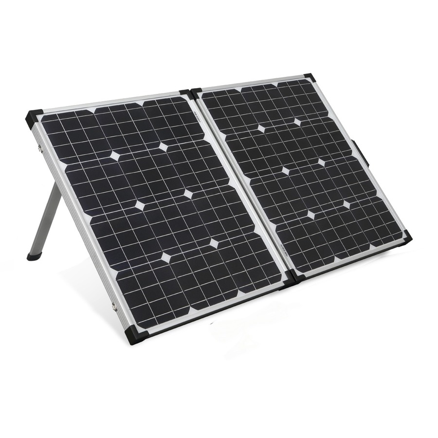 Photo of a Powertech 12V 100W folding solar panel with 5M lead.