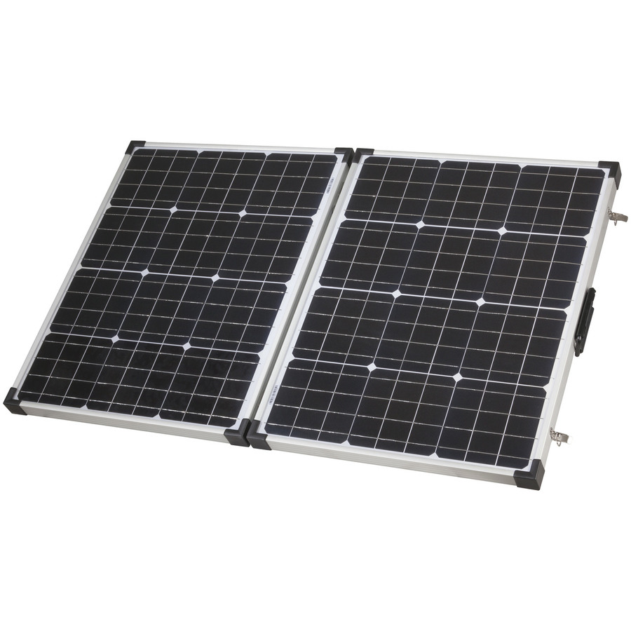 Photo of a Powertech 12V 120W folding solar panel with 5M lead.