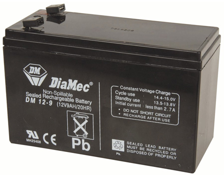 Photo of a 12V 9Ah replacement UPS SLA battery.
