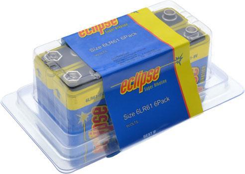 9V Batteries Alkaline Bulk Pack of 6 Eclipse
